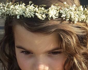 White Flower Crown Headband Girl's or Women Flower Headpiece Floral Halo Rustic Wedding Flower Girl Party Headband Boho Hair Wreath