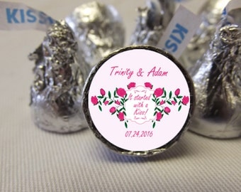 Wedding Hershey Kiss Stickers, Wedding Stickers, Personalized Favor Labels, 108 Wedding Candy Stickers