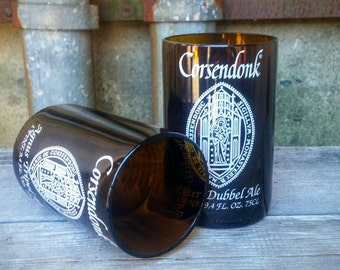 Corsendonk Pint Glasses From Upcycled Belgium Brown Ale Beer Bottles