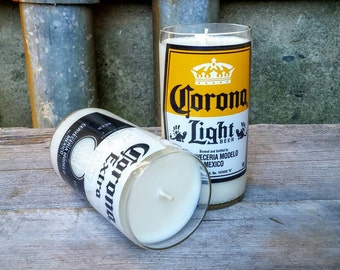 Corona Light and Corona Extra -  Set of Two Recycled Beer Candles