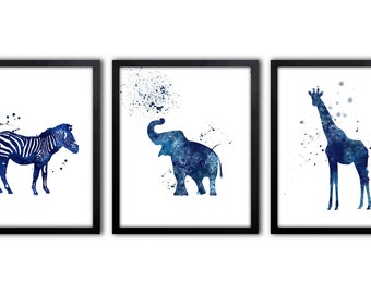 Navy Blue Boys Wall Art, Zebra Painting, Giraffe Art, Set Of Three Limited Edition Art Prints - AS11P