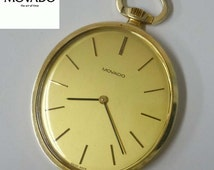 Rare 14Kt Gold Movado Champagne Stick Thin Oval Swiss Made Pocket Watch