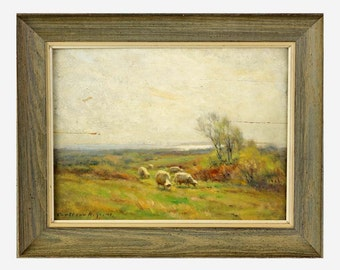 Carleton Wiggins Off Saybrook Grazing Sheep Landscape Oil Painting