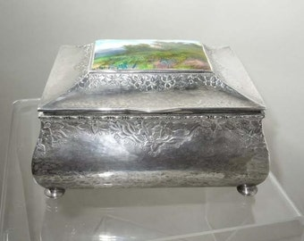 1924 Swedish Silver Jewelry Box G. A. Dahlgren With English Enameled Plaque  By Fleetwood Varley Malmo Sweden