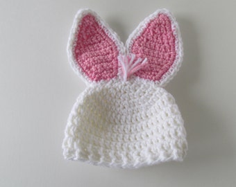 Pink & White Easter Bunny hat with Stand Up Ears ~ sizes NEWBORN  to 2 yrs.  Baby girl photo prop~  FREE SHIPPING