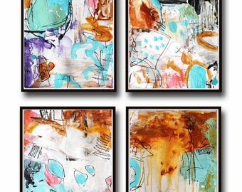 set wall art,  print, abstract painting and one suprice for one price Art Print, my painting Jolina Anthony
