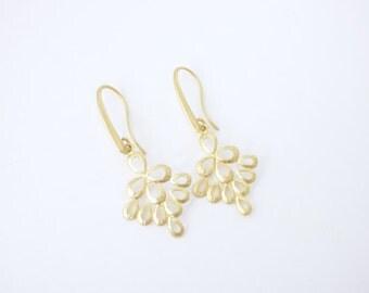 Gold Chandelier Earrings, Everyday Modern Earrings, Drop Earrings, Gold Dangle Earrings, Large Earring, Birthday Gift, Filigree Earrings