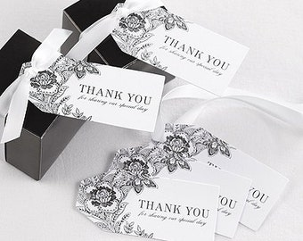 Vintage Design Wedding Favor Thank You Tags White or Ivory (Pack of 25)