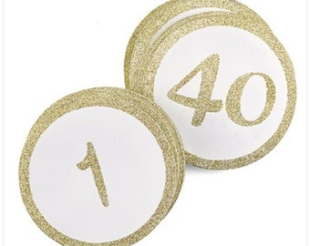 Round Glitter Table Number Cards for Wedding Receptions and Events Silver or Gold