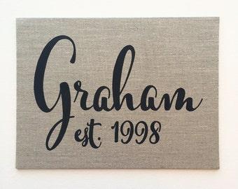 Personalized 8x10 Linen canvas board