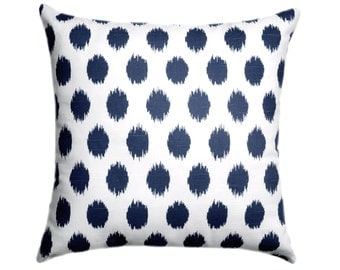 Navy Pillow Cover - Jojo Navy and White Throw Pillow Cover - Navy Decorative Pillow - Navy Blue Pillow - 20 x 20 Navy Blue Cushion Cover