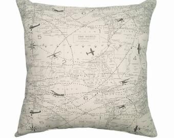 Throw Pillow, Map Pillow Cover, Decorative Pillow, Map Sham Cover, Natural and Grey Sham Pillow Cover, Air Traffic Felix Sham Pillow Case