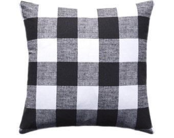 Black and White Buffalo Check Pillow Cover, Throw Pillow, Decorative Pillow, Anderson Cushion Cover, Black and White Plaid Buffalo Check