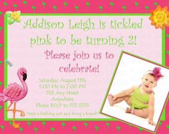 Hot Pink Neon Green Flamnigo Photo Birthday Invitation