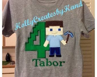 Minecraft inspired birthday shirt, Minecraft party, Steve Minecraft Shirt, Minecraft shirt - personalized