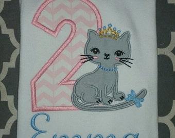 Custom Embroidered Princess Kitty Cat Birthday Shirt