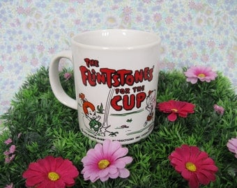 The Flintstones Mug - Fred Flintstone - Dino - Wilma Flintstone - Hanna Barbera - 1970s Cartoons - Bedrock City - Pebbles Flintstone