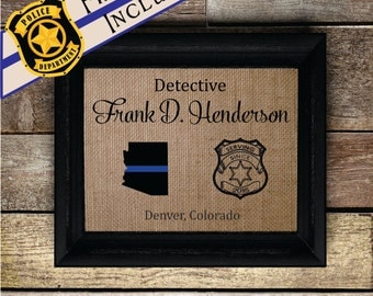 FRAMED Personalized Thin Blue Line Gift • Burlap Print for Policeman • Police Gift Idea • Retirement Police Gift Unique gift (pol329)