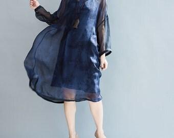 women leisure silk dress women summer dress women dress women blue silk dress