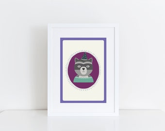 Childrens Wall Art Woodland Racoon
