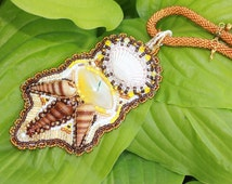 Embroidered Gemstone Necklace for wife Mother in Law Gift Unique Seed beadnecklace Sea Shell Golden Bead crocheted Agate Embroidery Necklace