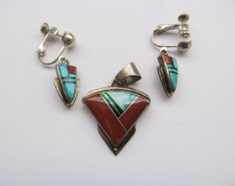 Francisco Sterling Inlay Pendant and Earring Set