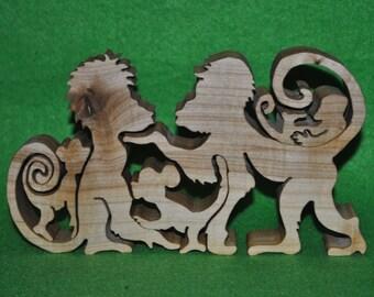 "Puzzle ""Monkey"" - Wood puzzle - Wooden Puzzle - Puzzle toy - Education Set - Wood handmade toys- Natural eco friendly - waldorf toy"