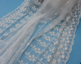 1yard  Embroidery Lace Fabric ,white cotton lace fabric and Scalloped lace -50 inches Wide,snow flower lace