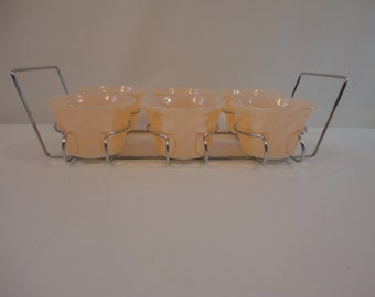 Vintage Fire King Copper Tint Peach Lustre Swirl Custard Cups with Baking Rack