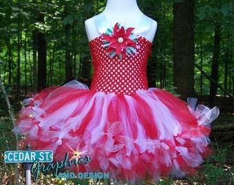 CHRISTMAS Red & White Tutu Dress - Ready to ship! - Christmas party dress - Candy Cane tutu dress - Holiday tutu dress - Christmas Tutu