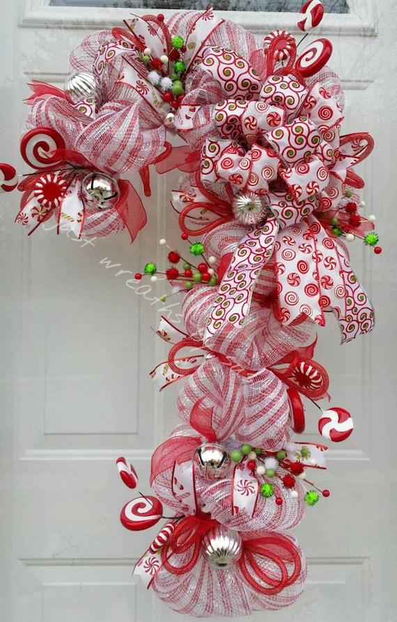 Candy Cane Wreath Candy Cane Deco Mesh By Justwreathsbysusan