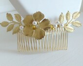 Golden comb wedding vintage - Alicia - Crystal beads and Swarovski router - beads gold filled - leaves and golden flowers
