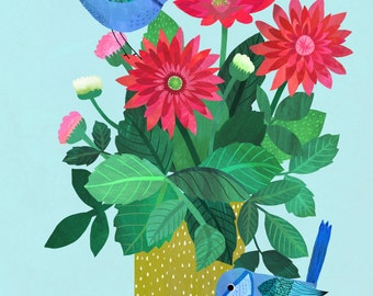 Dahlias...Giclee print of an original illustration