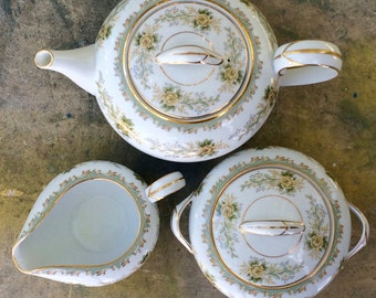 Noritake China Brunswick Pattern 5410 Sugar Bowl with Lid | 1950s Tea Set