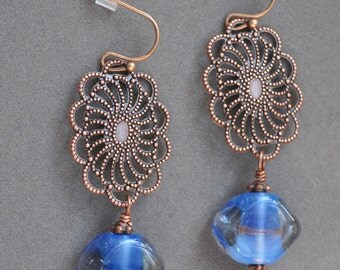 Blue and Antique Copper Filigree Earrings