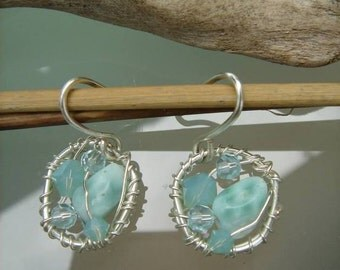 Earrings with Larimar and 925 Silver, beautiful summer!