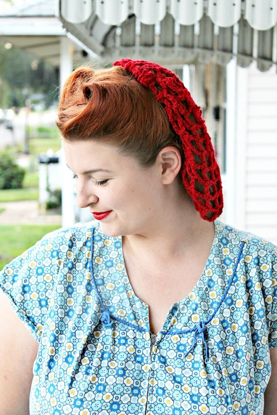 Shop 1950s Hair Accessories Victory Red 1940s style crochet pin up snood $18.00 AT vintagedancer.com