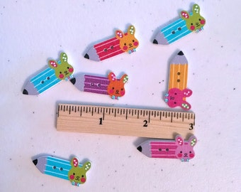 Wood Buttons - 12 Bunny Pencil Wood Shapes - Decorative Buttons For Crafts - Pencils With Bunnies - Colorful and Cute Buttons - BTN01