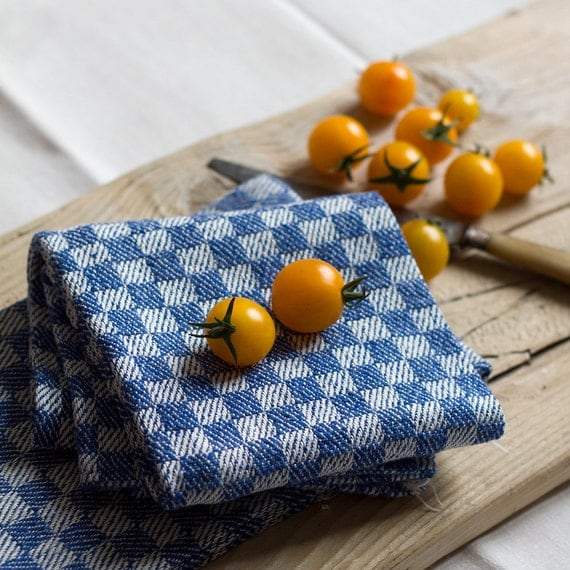 French Blue & White Woven Check Kitchen Towels