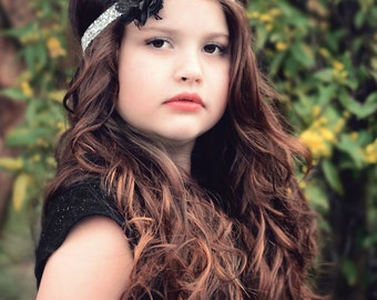 Black Flower Girl Headband, Black Bridal Headband, Rhinestone Headband, Black White Wedding, Prom Headband, Teen Headband, Adult, Bling