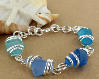 Blue Multi Sea Glass Bracelet