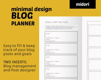 MTN Blog PLANNER = monthly planner insert + blog management. 2 inserts MTN Travelers Notebook refill - instant download
