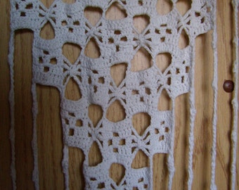 Vintage, hand-made small rectangular white cotton, crochet lace curtain.