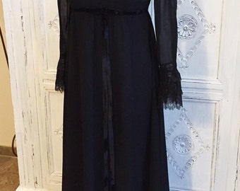 Vintage Jean Allen 1960s Black Full Length Evening Dess Size 12