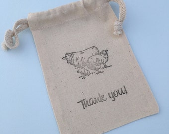 Barnyard Favor Bags: Muslin Bags With Barnyard Design, Barnyard Party Supplies