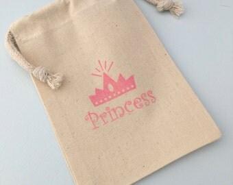 Princess Party Favor Bags: Pink Crown and Princess Slogan