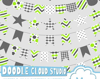 Green & Gray Patterns Bunting Banners Cliparts Pack, pattered flags, transparent Background, Instant Download, Personal and Commercial Use