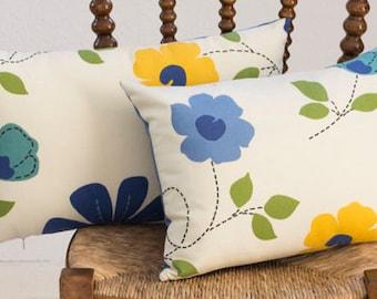 Blue Flower Pillow, Green Yellow Cushion, Flower Pillow Cover, Flower Throw Pillow, Blue Couch Pillow, 12 x 20 Pillowcase, Gifts For Mom