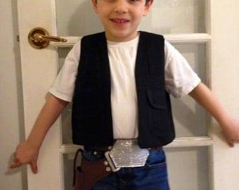 Han Solo costume black utility vest, gun holster and belt,  children
