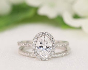 2.0 carat Halo Wedding Ring Set - Oval Cut Ring - Halo Engagement Ring - Sterling Silver